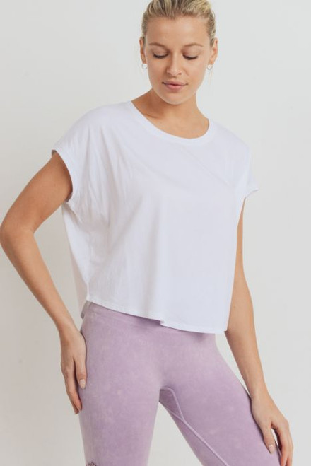 Women's white ribbed hem boxy crop top with short dolman sleeve