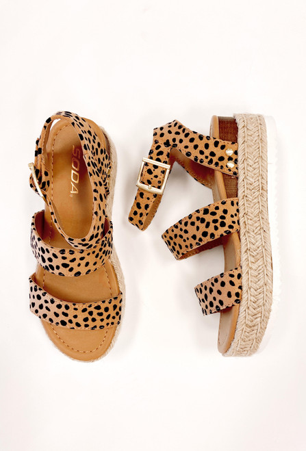 Women's cheetah print espadrille sandal with ankle strap