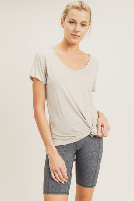 Women's tan rounded v neck tie front tee
