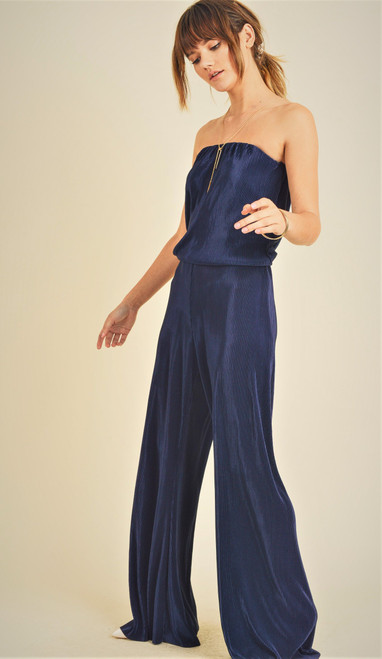 Women's navy blue pleated strapless jumpsuit