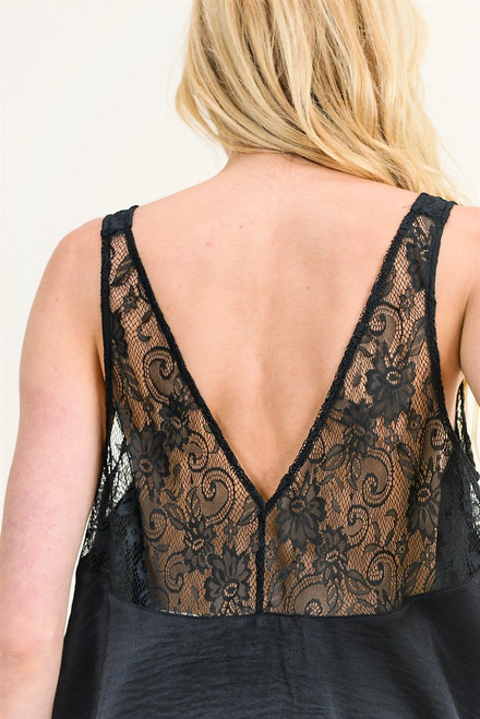 Women's black lace v neck tank top with open back