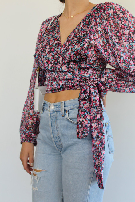 Women's pink and purple floral wrap blouse