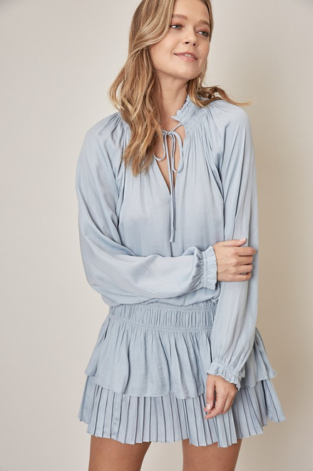 Women's cloud blue dress with smocked waist and pleated skirt