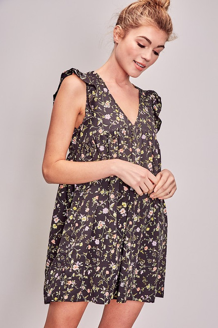 Women's black floral print romper that looks like a dress