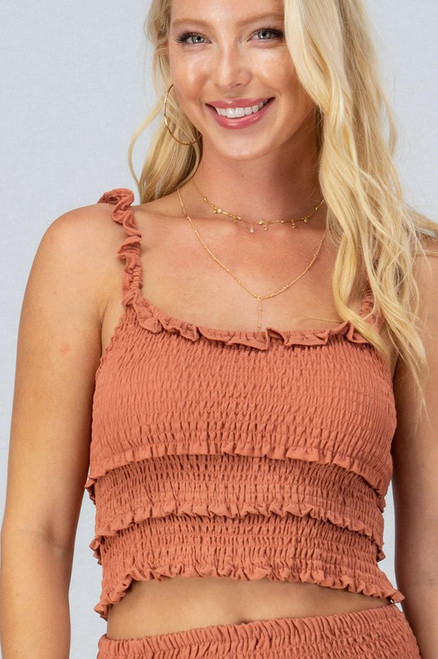 Rust ruffle trim smocked tank top
