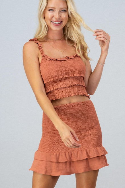 Rust smocked skirt with matching tank top