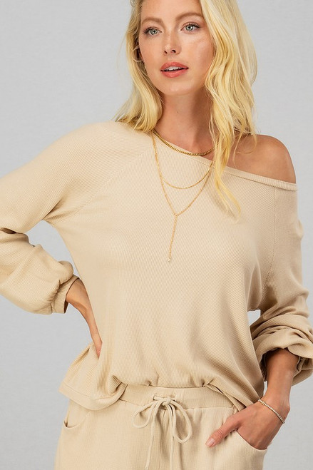 Taupe waffle knit matching top and short lounge set