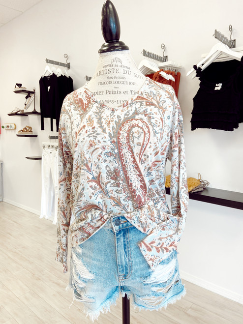 Women's long sleeve lightweight sweater material blouse with paisley print