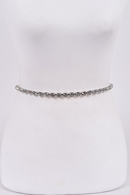 Silver rhinestone crystal belt with adjustable length