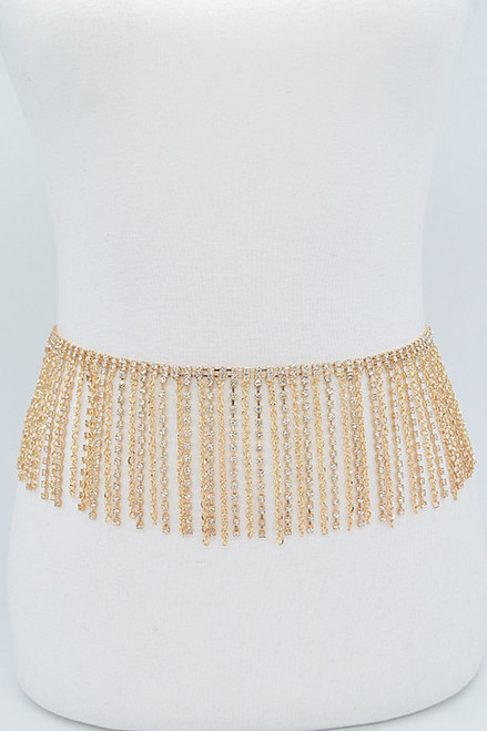 Rhinestone curtain belt features dripping rhinestones and chain details in gold