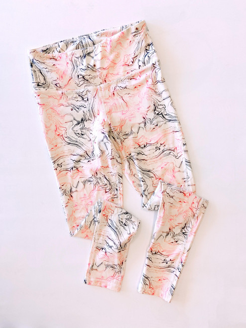 Women's grey and pink marble print legging
