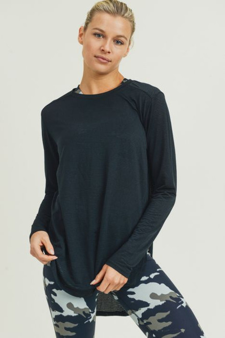 Women's black mesh long sleeve top with slit on sides