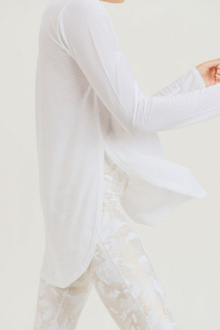 Women's mesh white long sleeve top with slit on sides