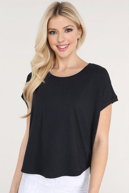 Women's black short dolman sleeve tee