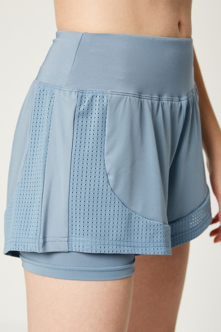 Women's light blue active shorts with compression lining