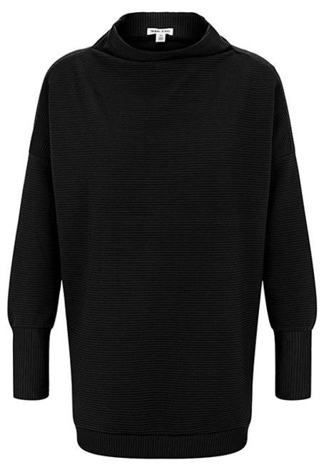 Women's black rib knit tunic with funnel neckline