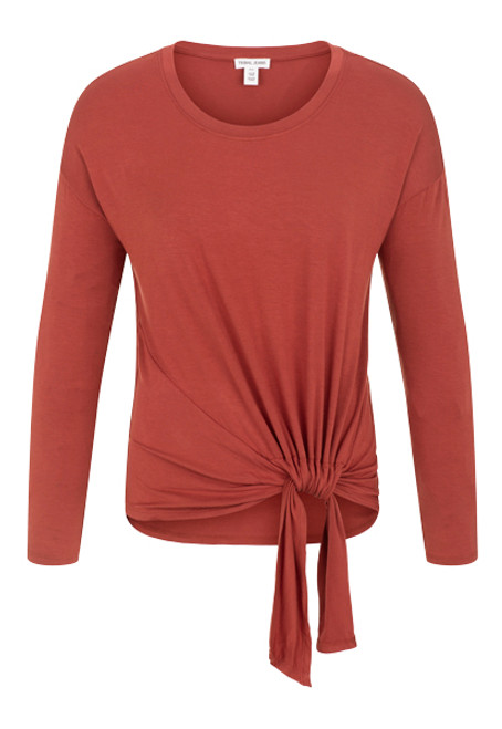 Women's rust long sleeve tee with adjustable knot detail at hem