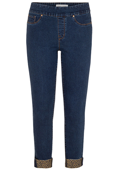 Women's pull on jegging with leopard cuff