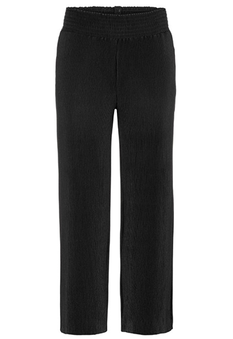 Women's black rib knit pant with elastic waistband