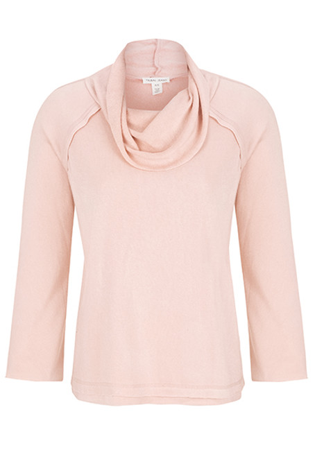 Women's blush pink cowl neck sweater top