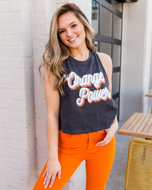 Orange power cropped tank top, Oklahoma State game day apparel