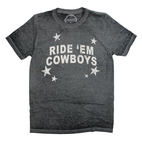 Oklahoma State University game day apparel, ride 'em cowboys acid wash tee