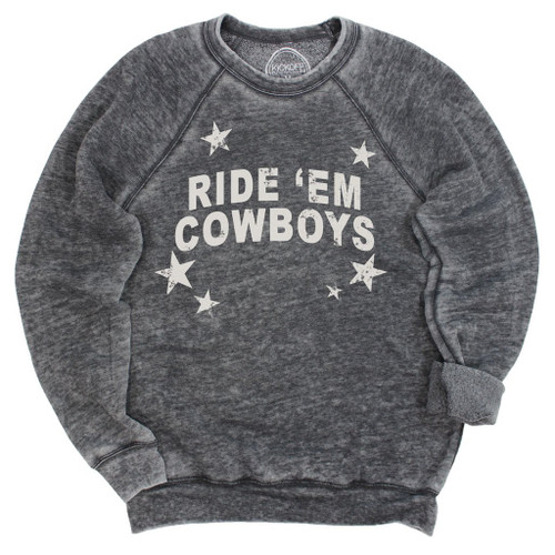 Oklahoma State University game day apparel, Ride 'Em Cowboys acid wash pullover