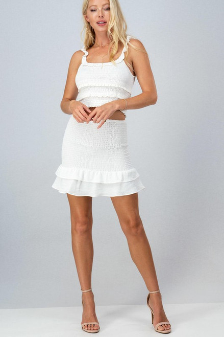 White ruffle hem smocked skirt
