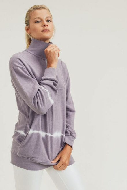 Lilac terry knit tie-dye half zip pullover