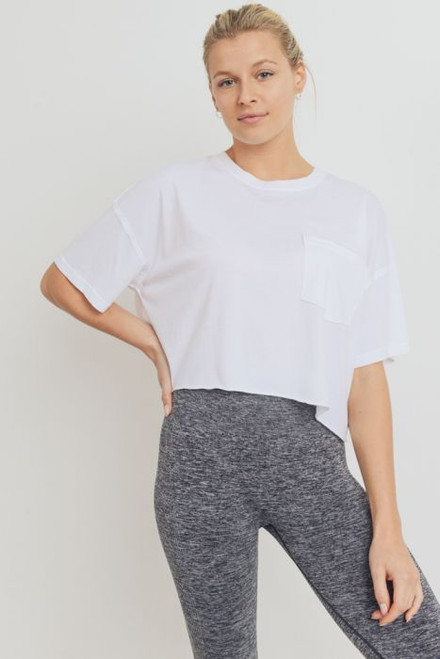 Women's boxy fit white cropped pocket tee