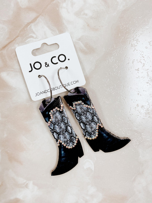 Black boot earring