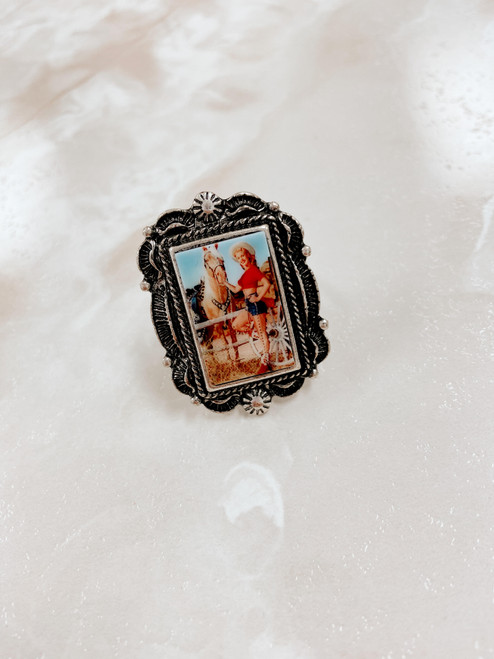 Cowgirl adjustable portrait ring