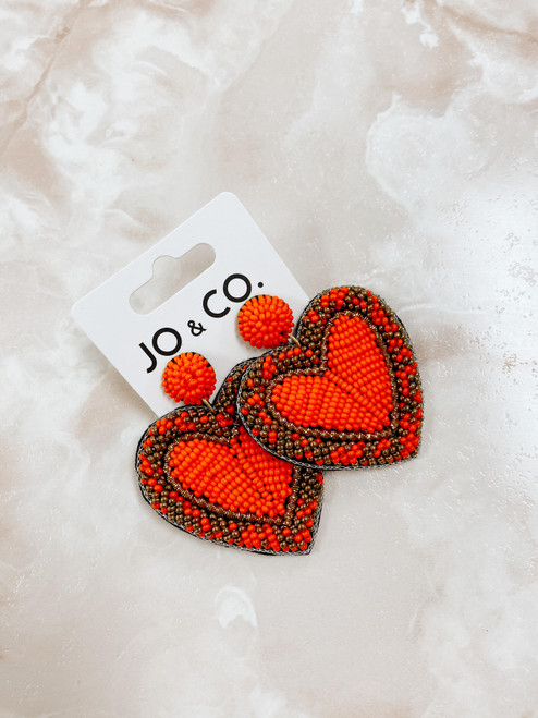 Beaded orange earring