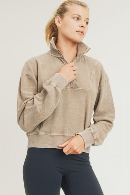 Women's terry knit tan cropped half zip pullover