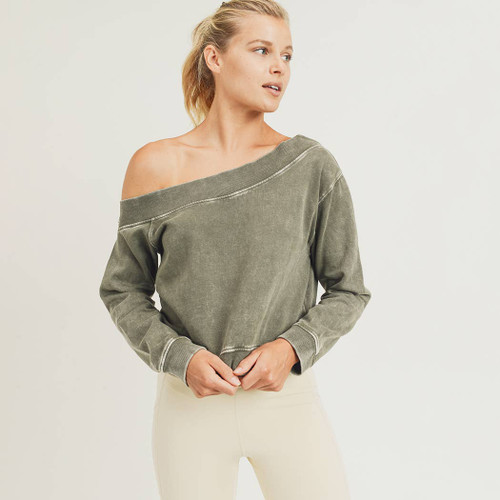 Women's olive green off the shoulder cropped pullover