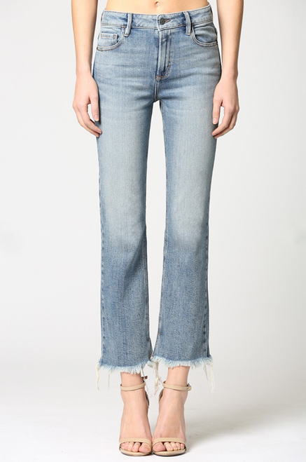 Women's light wash stretch cropped flare jean