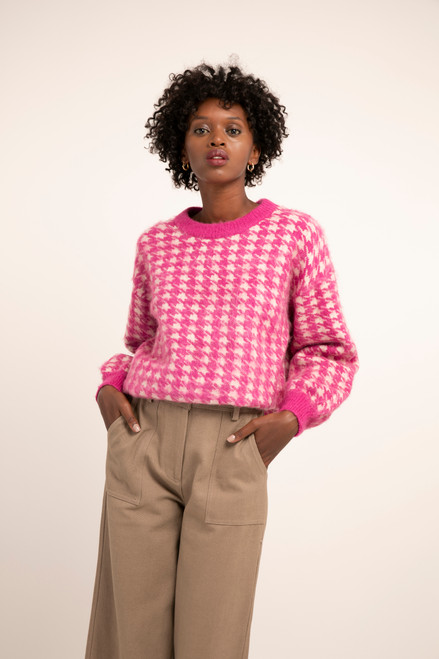 Women's hot pink houndstooth sweater