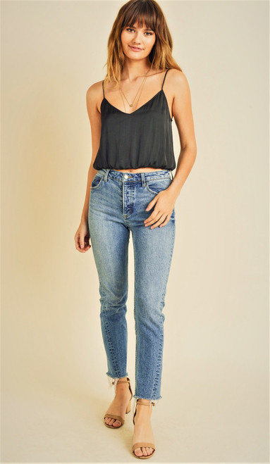 Black silky cropped camisole