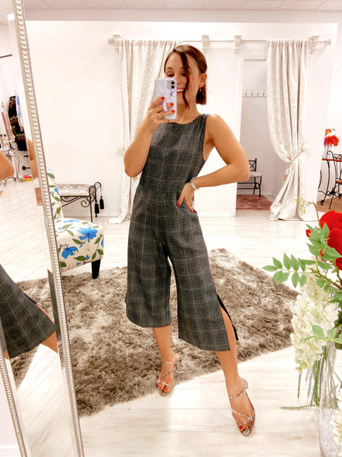 Charcoal grey plaid jumpsuit