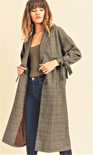 Women's plaid fully lined trench coat