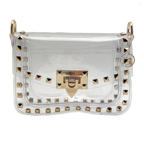 Stadiu approved small clear bag with gold studs