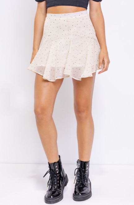 star print flounce mini skirt