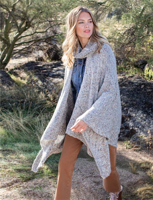 Grey knit cape with removable scarf, knit poncho