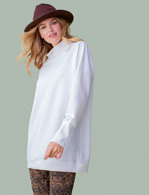 Women's rib knit tunic with funnel neck
