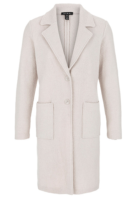 Women's light tan duster length wool coat