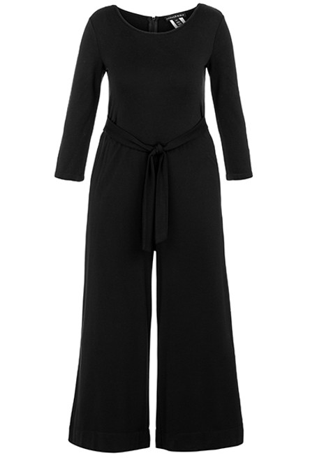 Women's black wide leg long sleeve jumpsuit with bow detail