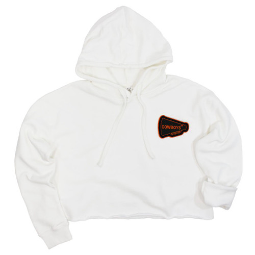 Oklahoma State University cropped hoodie with letterman patch