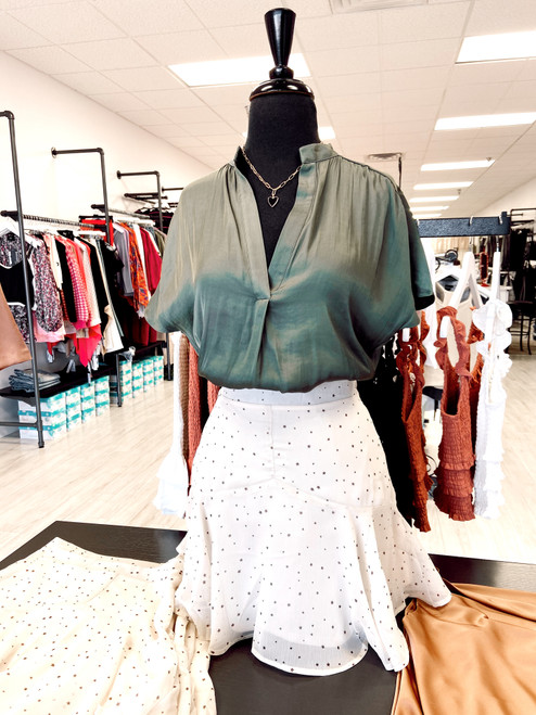 Short sleeve silky olive green blouse