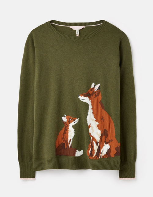 Olive green fall sweater with fox and cub