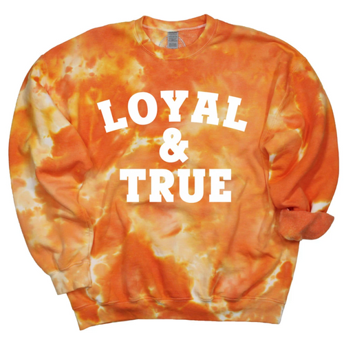 Oklahoma State University Loyal and True Orange tie dye pullover